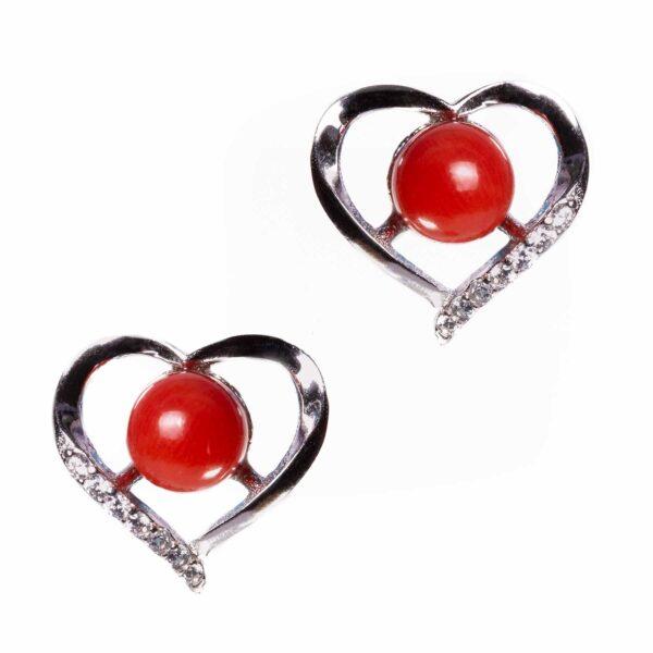 coppia di orecchini in argento a forma di cuore con corallo