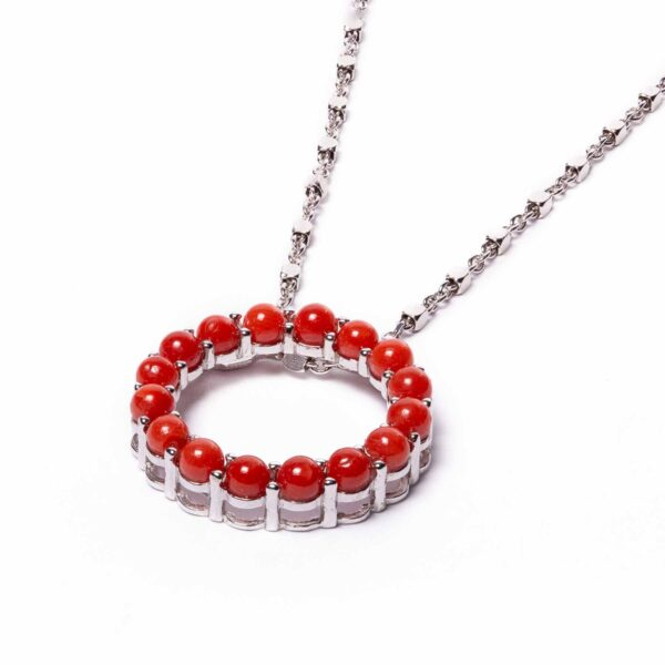 circle necklace in silver and coral