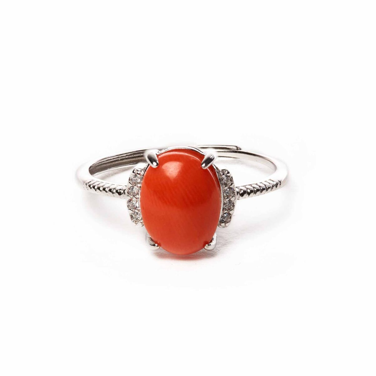 essence ring in silver and coral