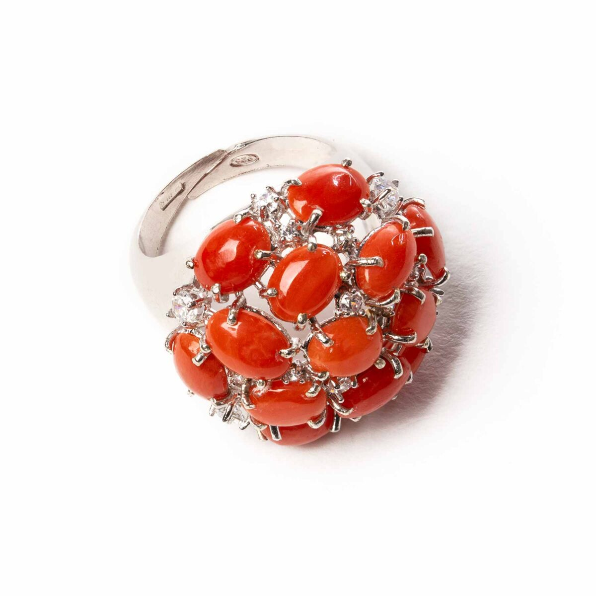 cupola ring in silver and coral