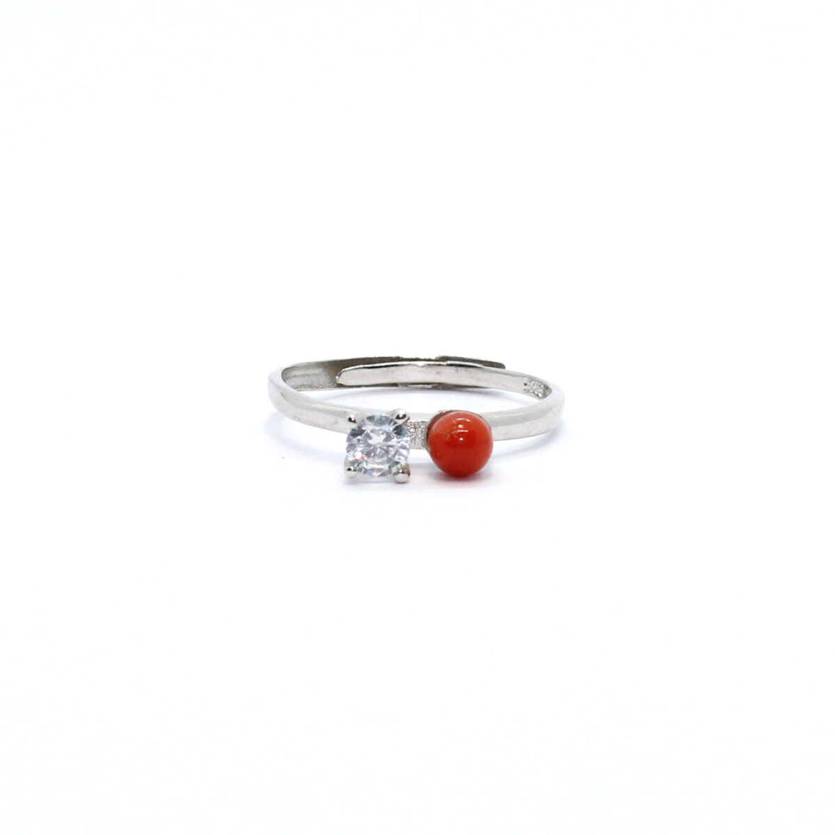 double ring in silver and coral