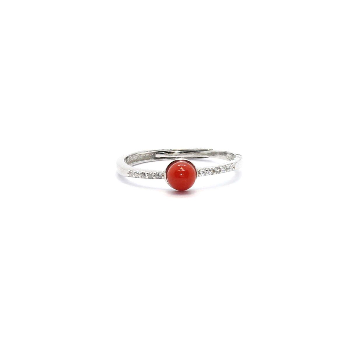 simple ring in silver and coral