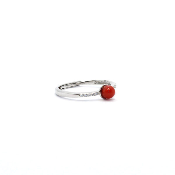 anello simple in argento e corallo