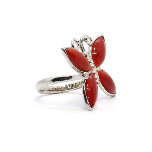 nature ring in silver and coral