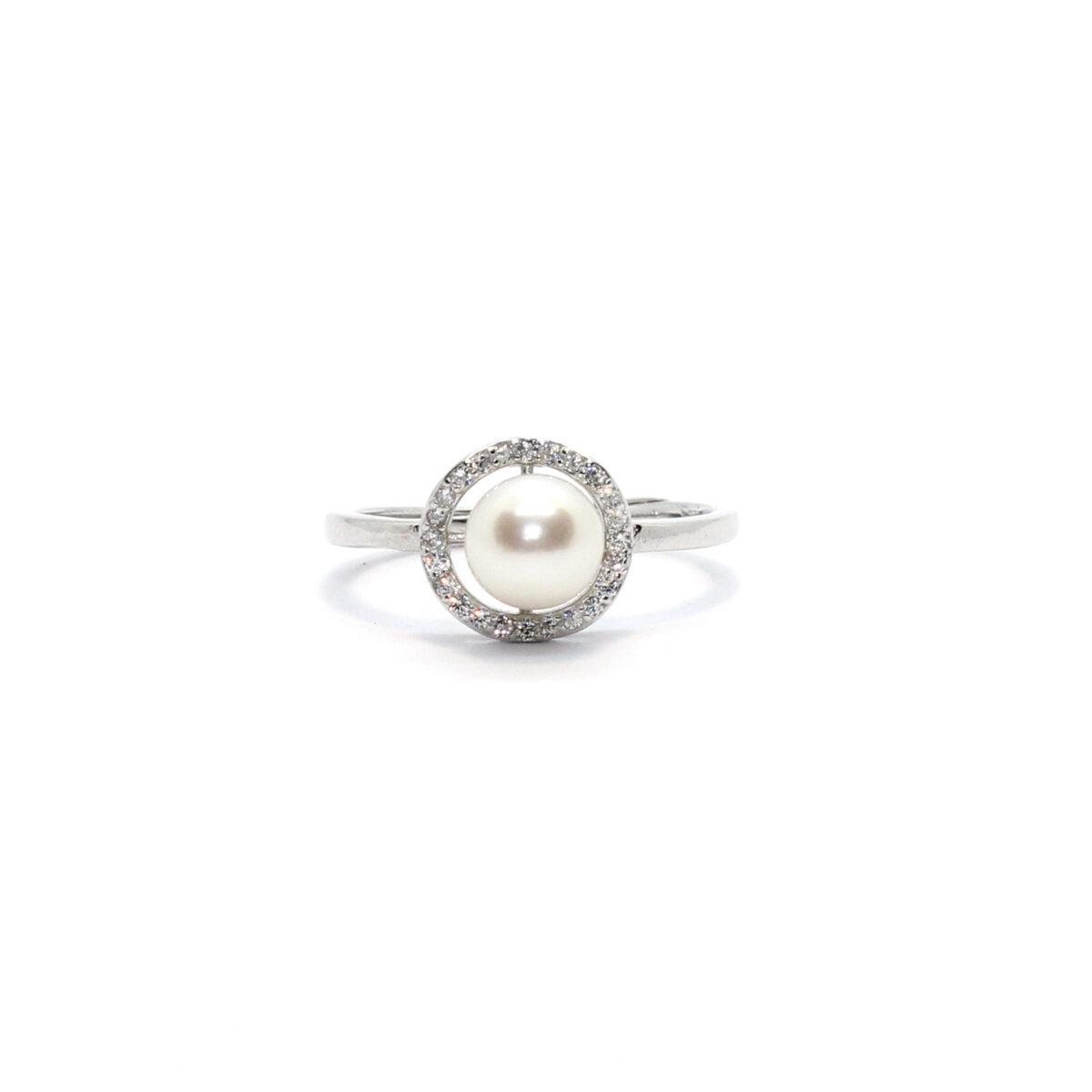 anello perla in argento 925%