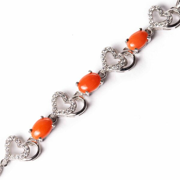 cuore bracelet in silver and coral