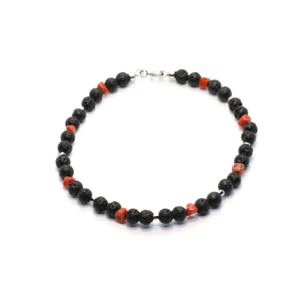 pietra lavica bracelet with coral