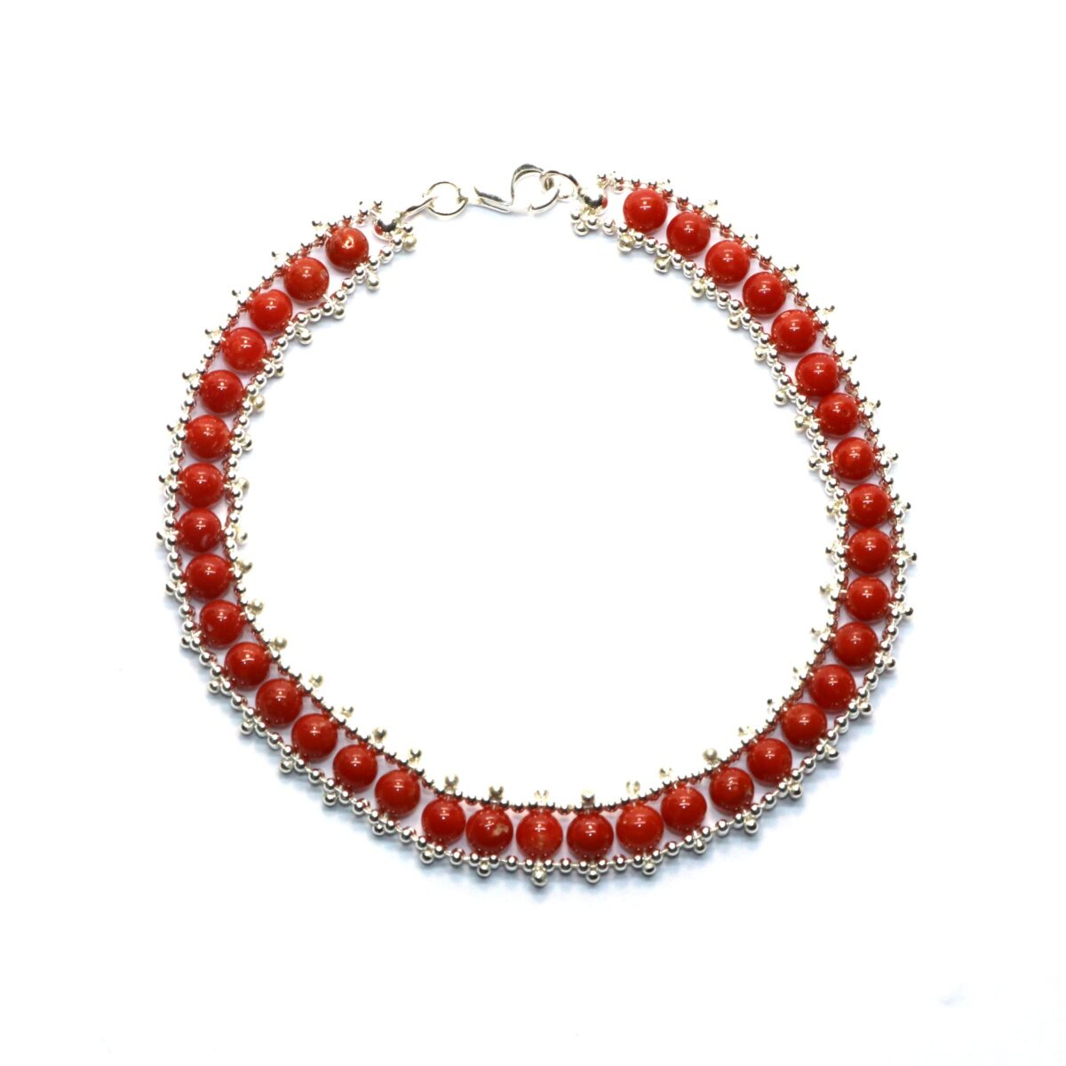 circle bracelet coral and silver