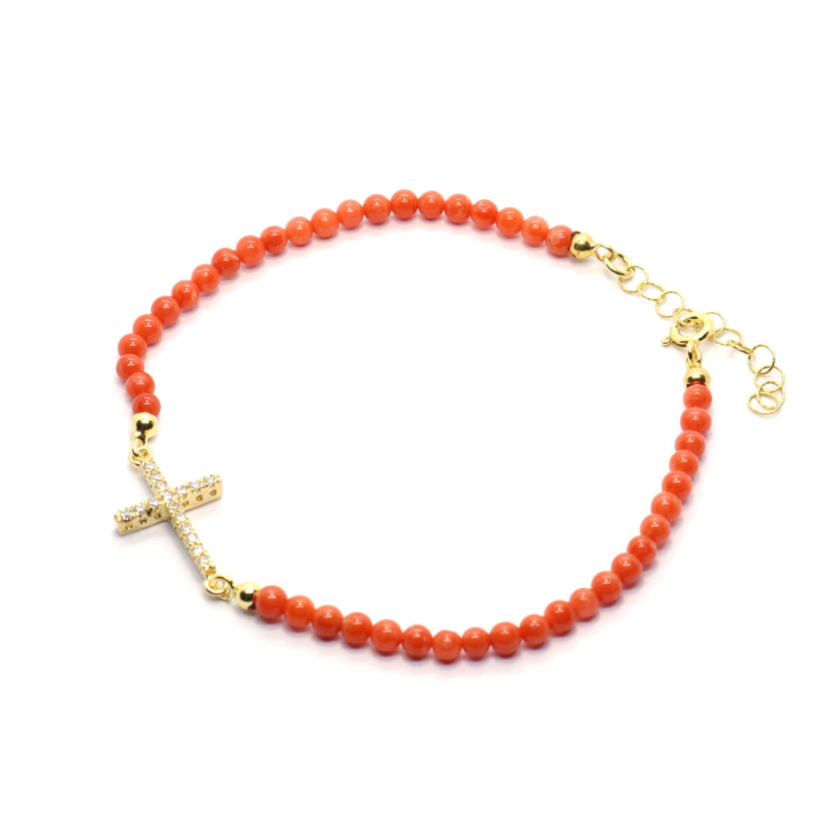 bracelet coral and silver