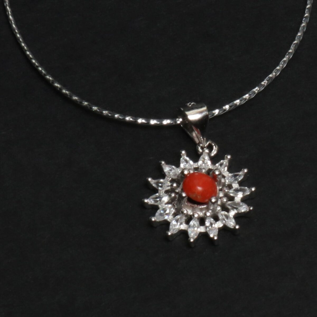 essence necklace coral and silver