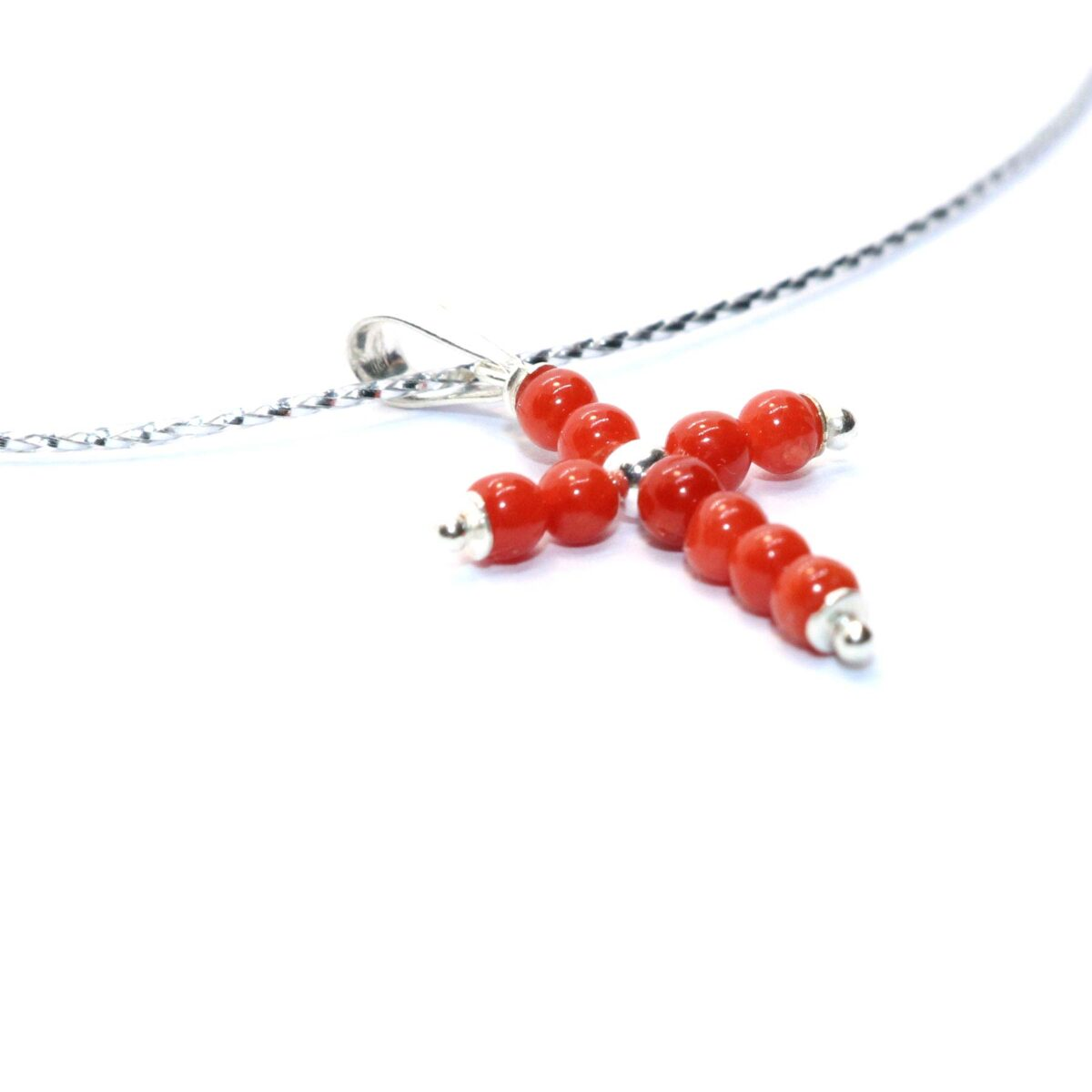 necklace coral and silver