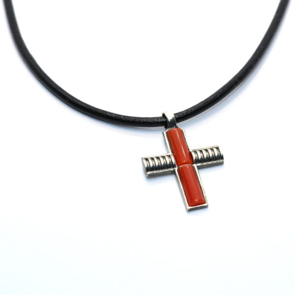 croce necklace coral and silver