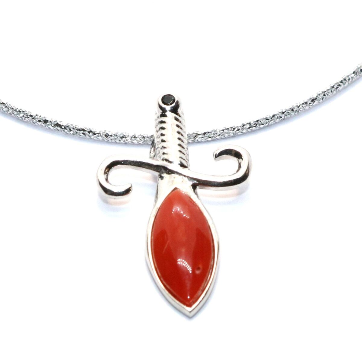 simple necklace coral and silver