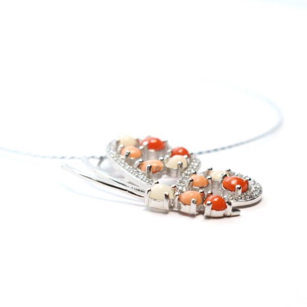 nature necklace in silver and coral