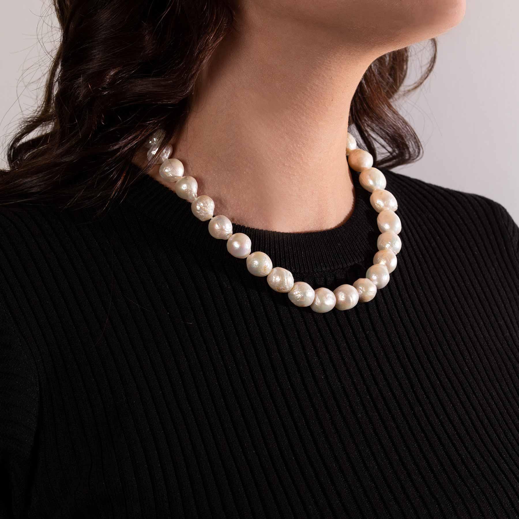 collana di perle barocche e argento