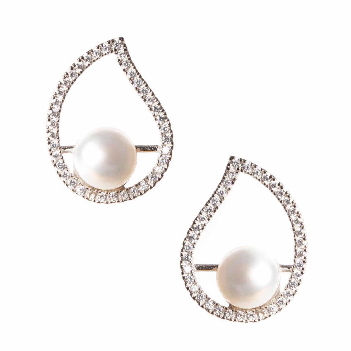 orecchini nature in argento e perla