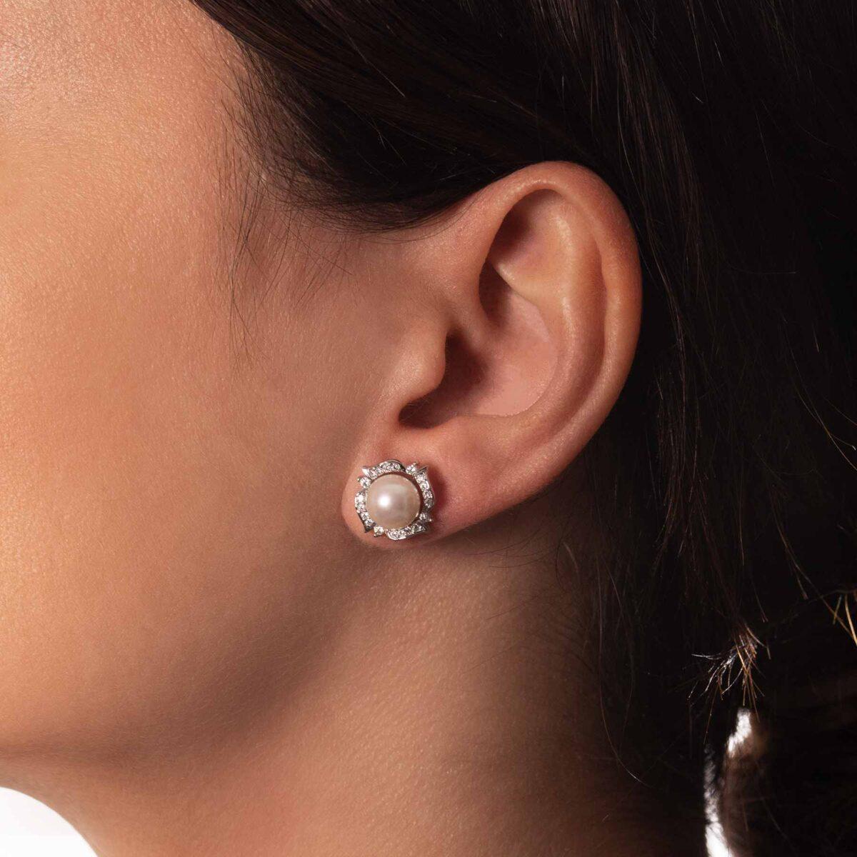 orecchini nature in argento e perla coltivata