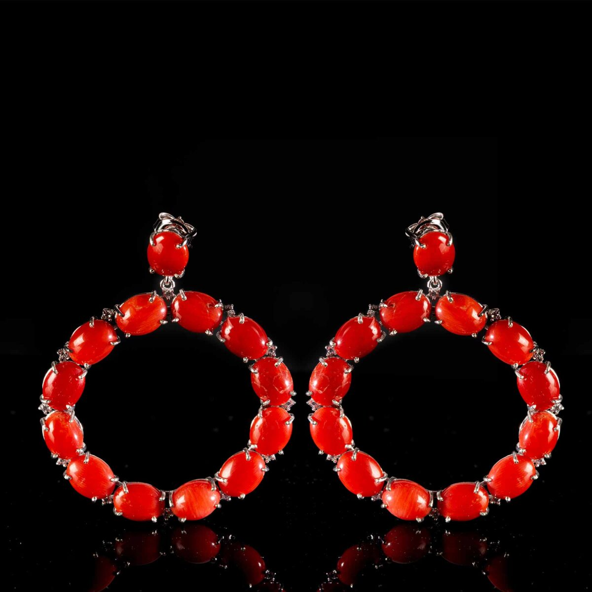 circle earrings in silver and coral