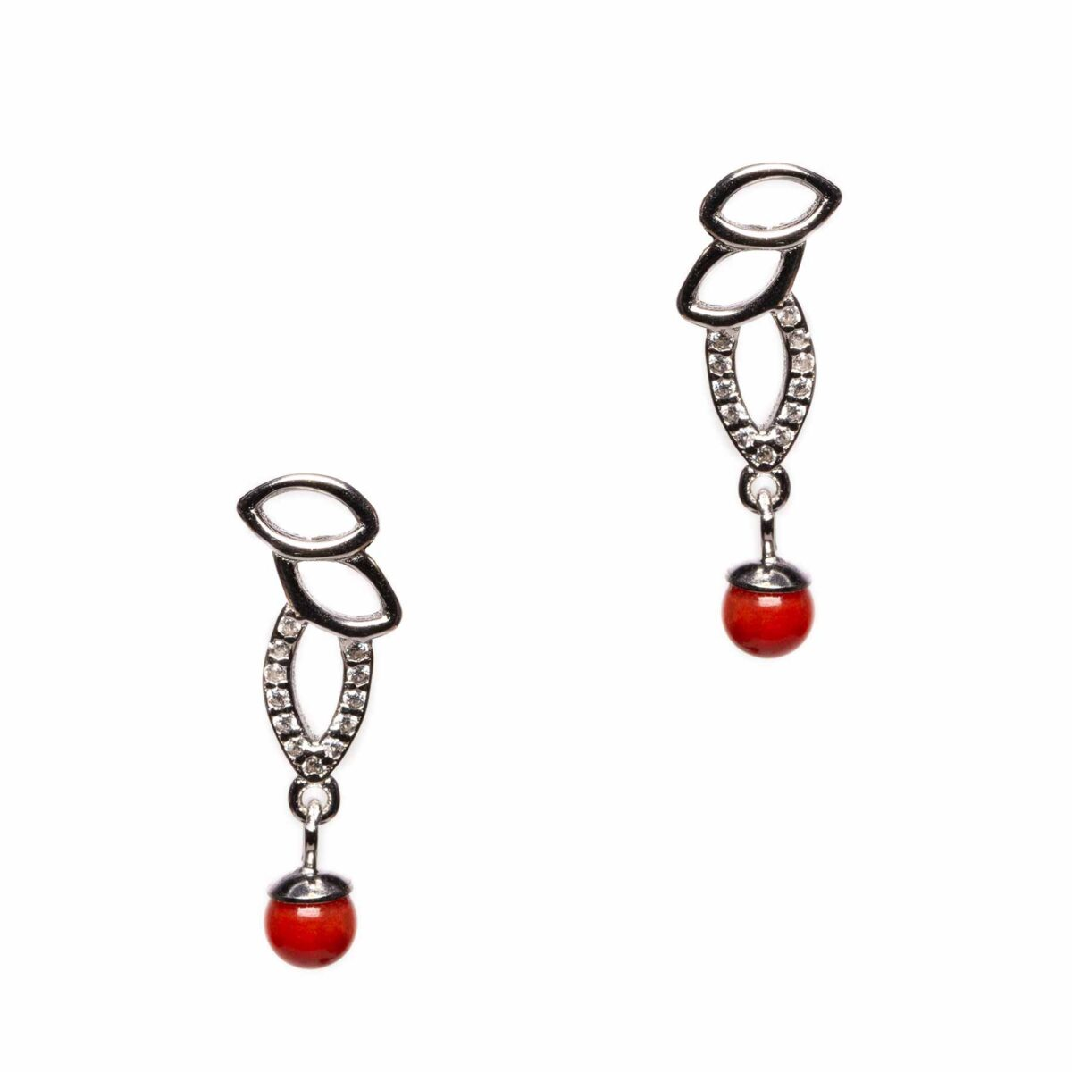 eyes earrings in silver and coral
