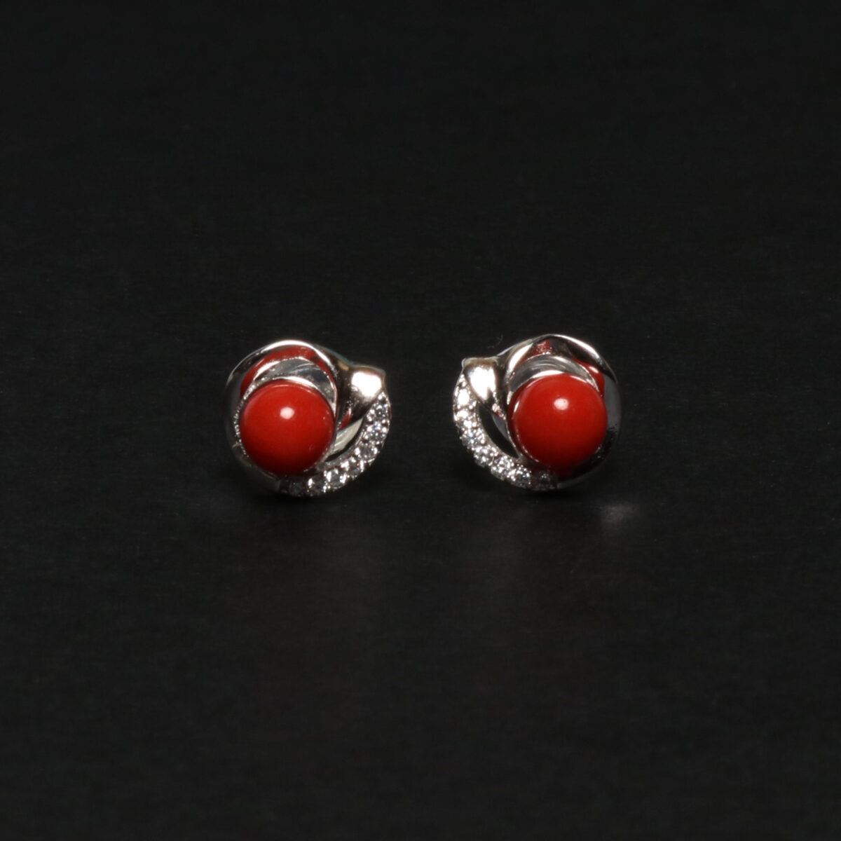 simple earrings in silver and coral