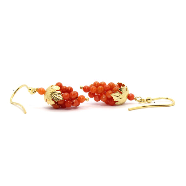 nature earrings in silver and coral
