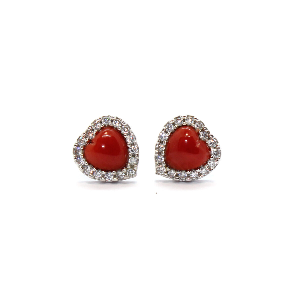 cuore earrings in silver and coral