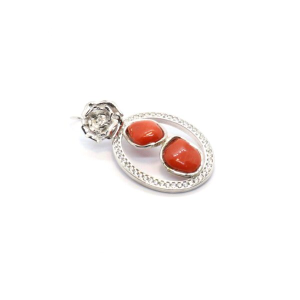 Double Earrings with silver and Mediterranean coral
