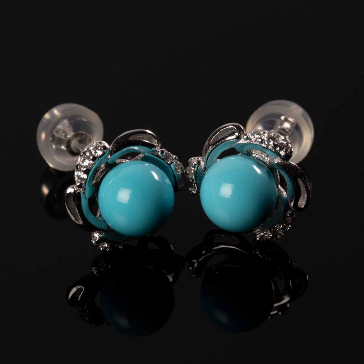 Earrings Agglomerate Turquoise and silver