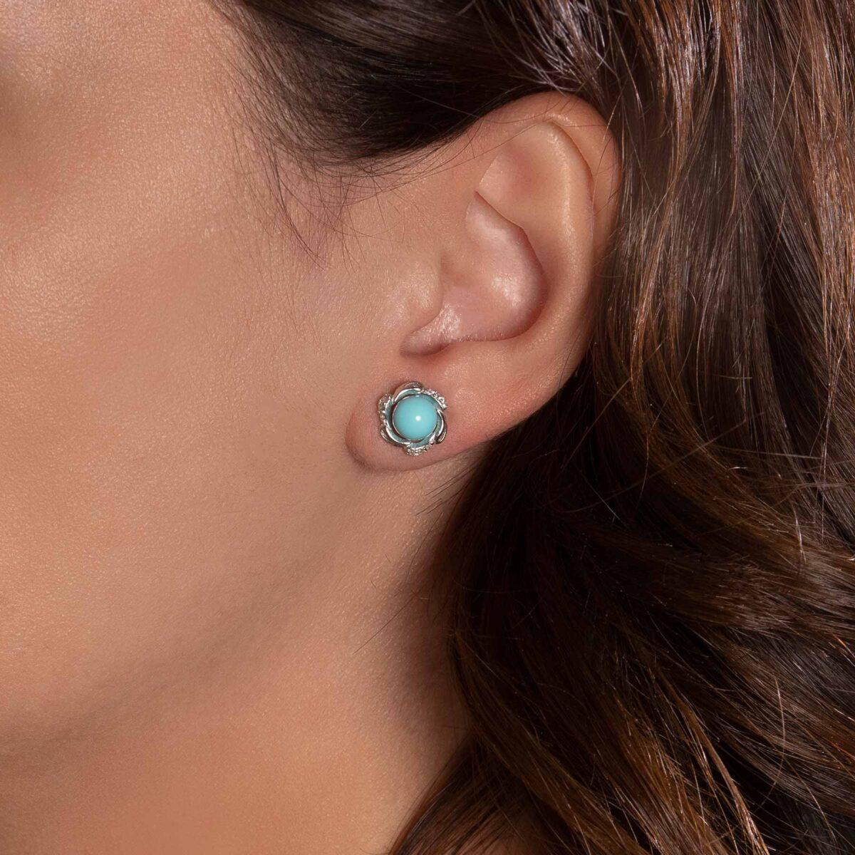 orecchini agglomerato di turchese e argento
