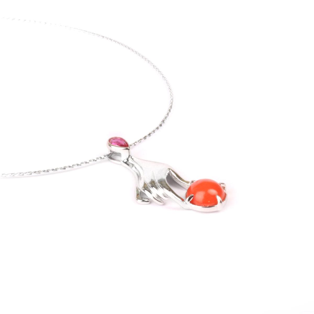 collana simple corallo e argento