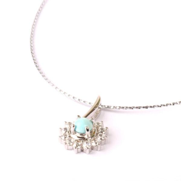 collana essence in argento e agglomerato di turchese