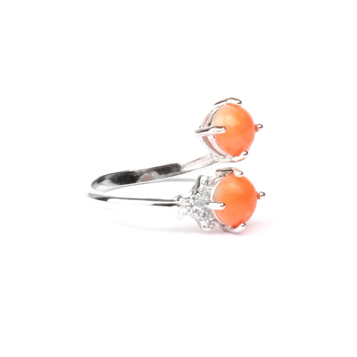 anello simple in argento e corallo
