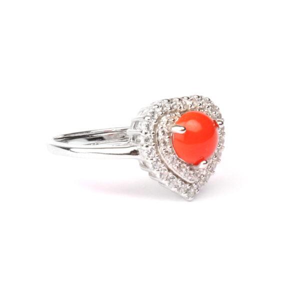 anello cuore in argento e corallo