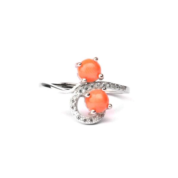 anello double in argento e corallo