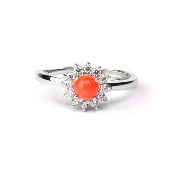 anello essence in argento e corallo