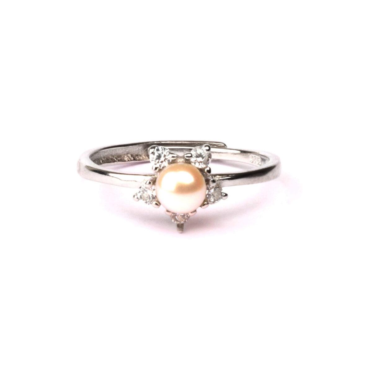 anello nature in argento e perla
