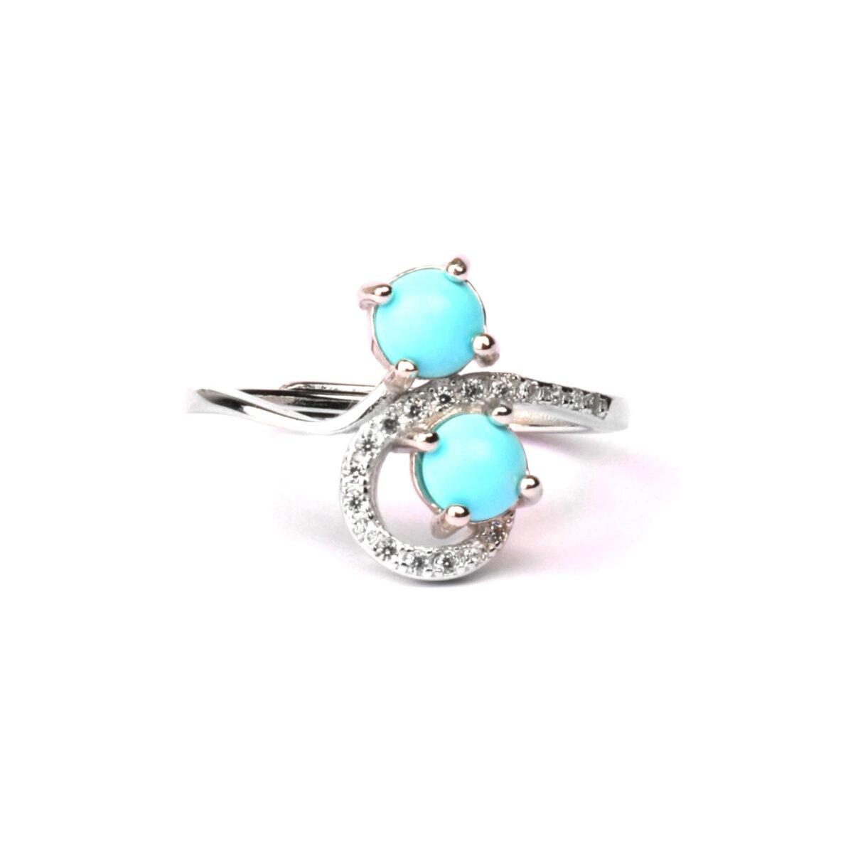 anello double in argento e agglomerato di turchese