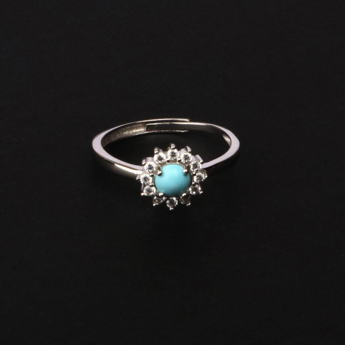 anello essence in argento e agglomerato di turchese