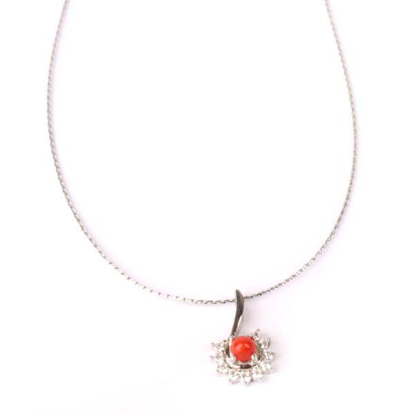 collana essence in argento e corallo