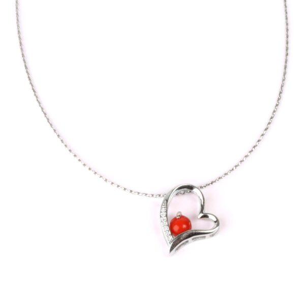 collana cuore in argento e corallo