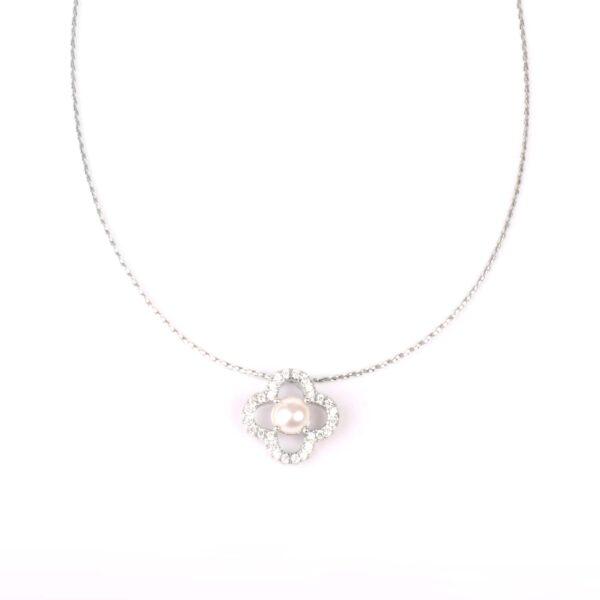 collana essence in argento e perla