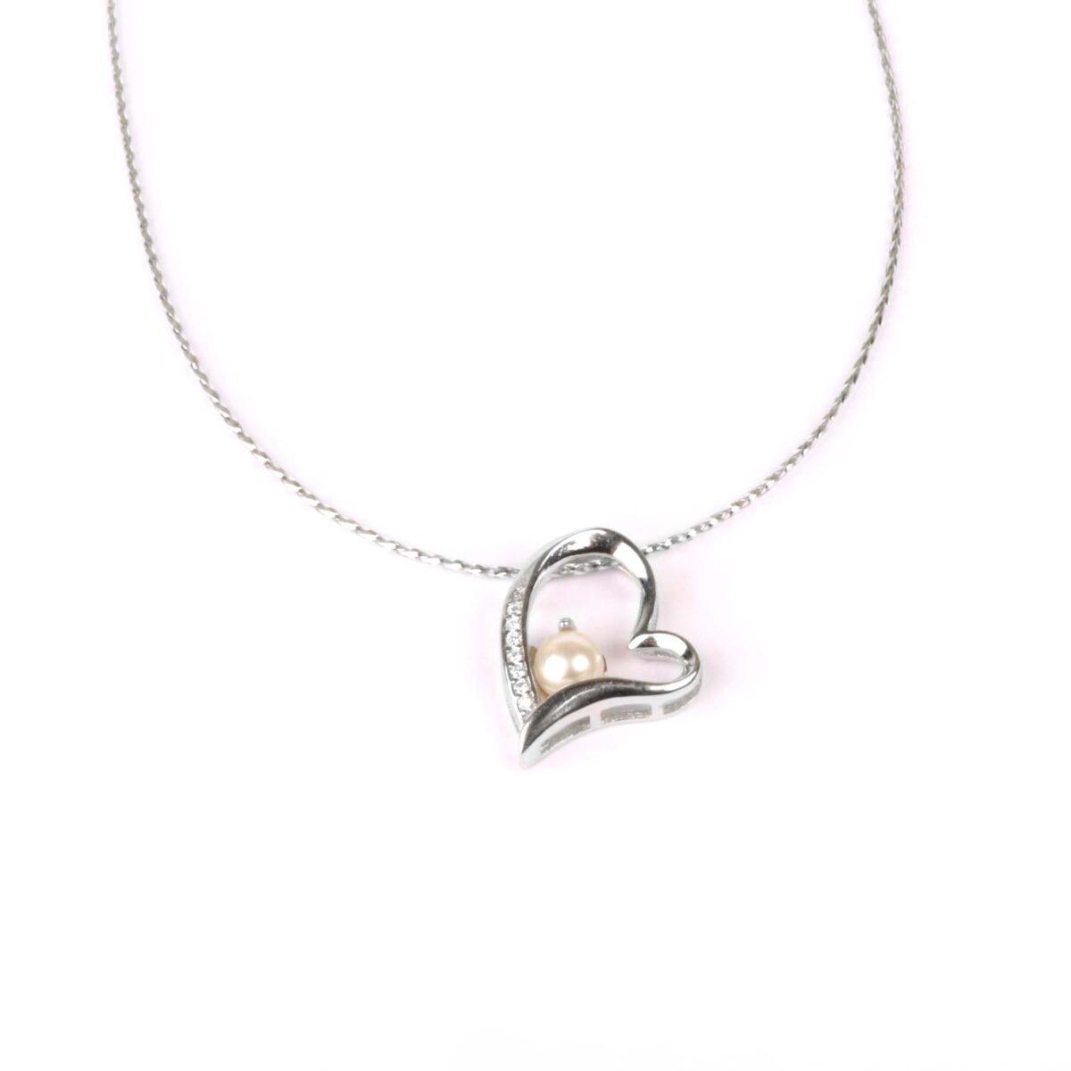 collana cuore in argento e perla