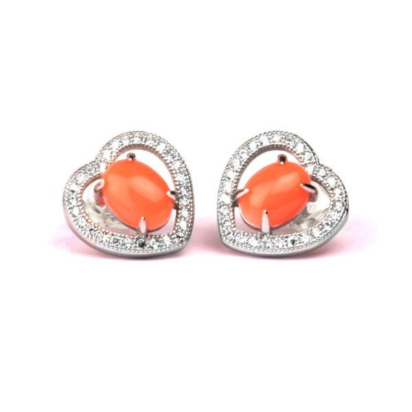 orecchini cuore in argento e corallo