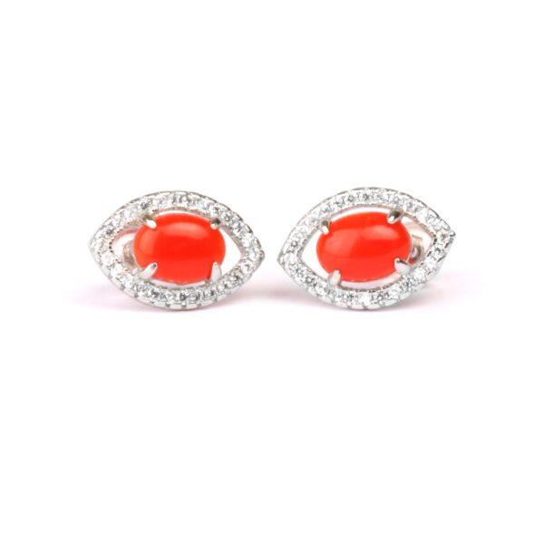 orecchini eyes in argento e corallo