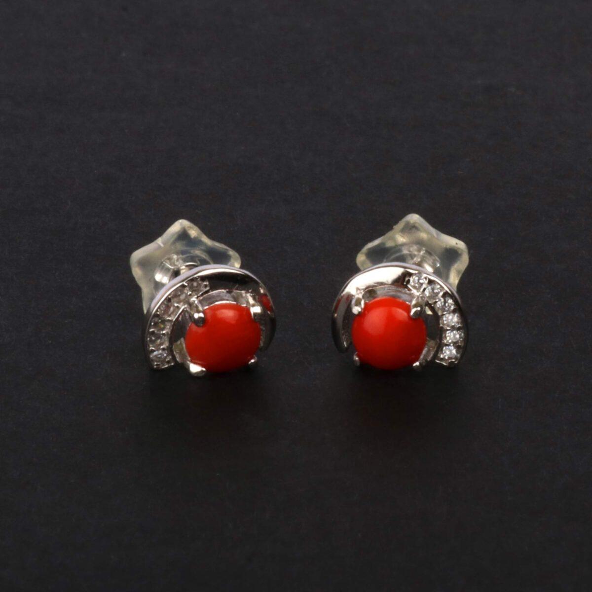 orecchini simple in argento e corallo