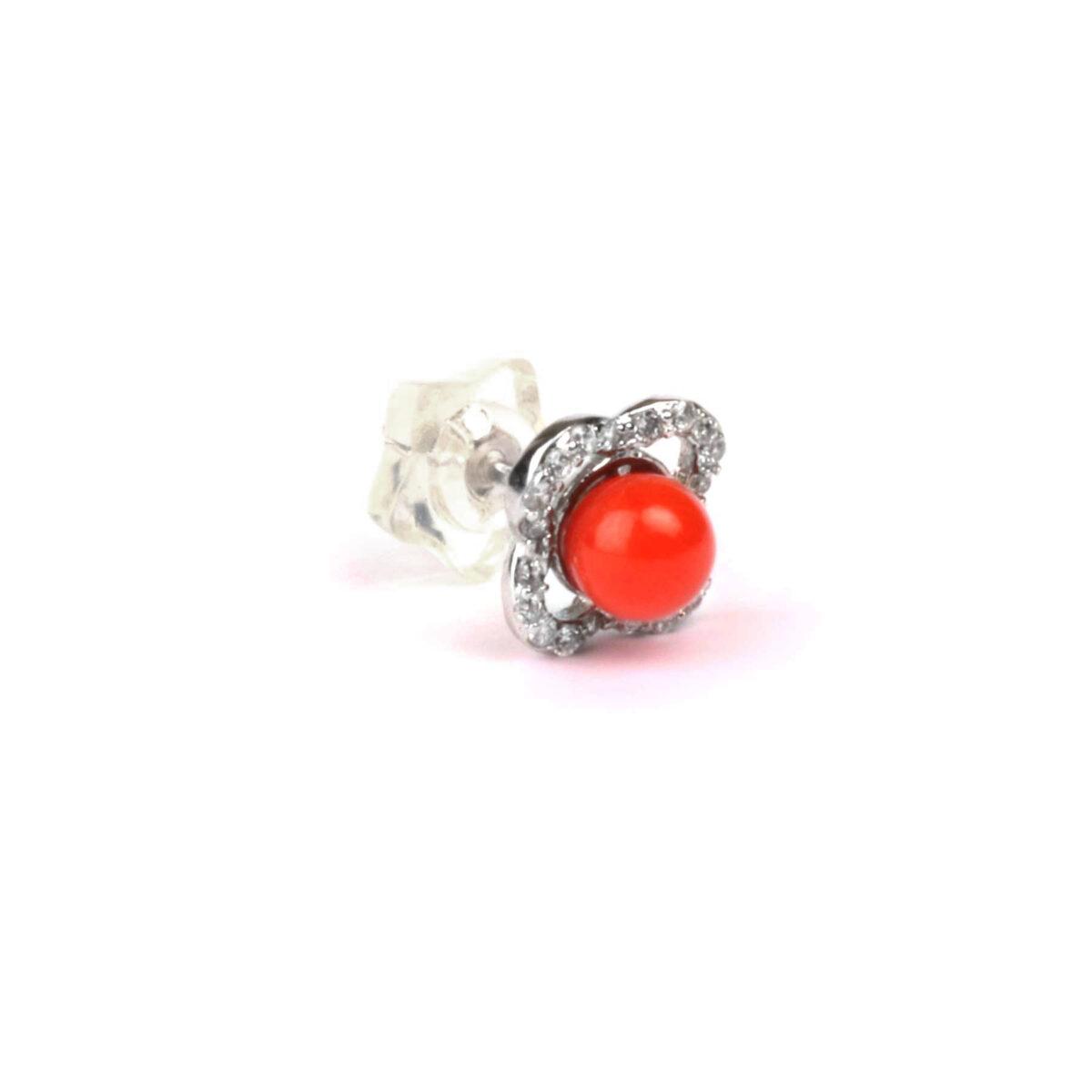 orecchini nature in argento e corallo