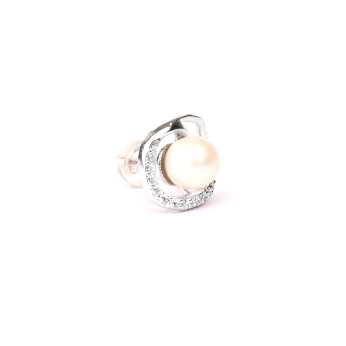 orecchini simple in argento e perla coltivata