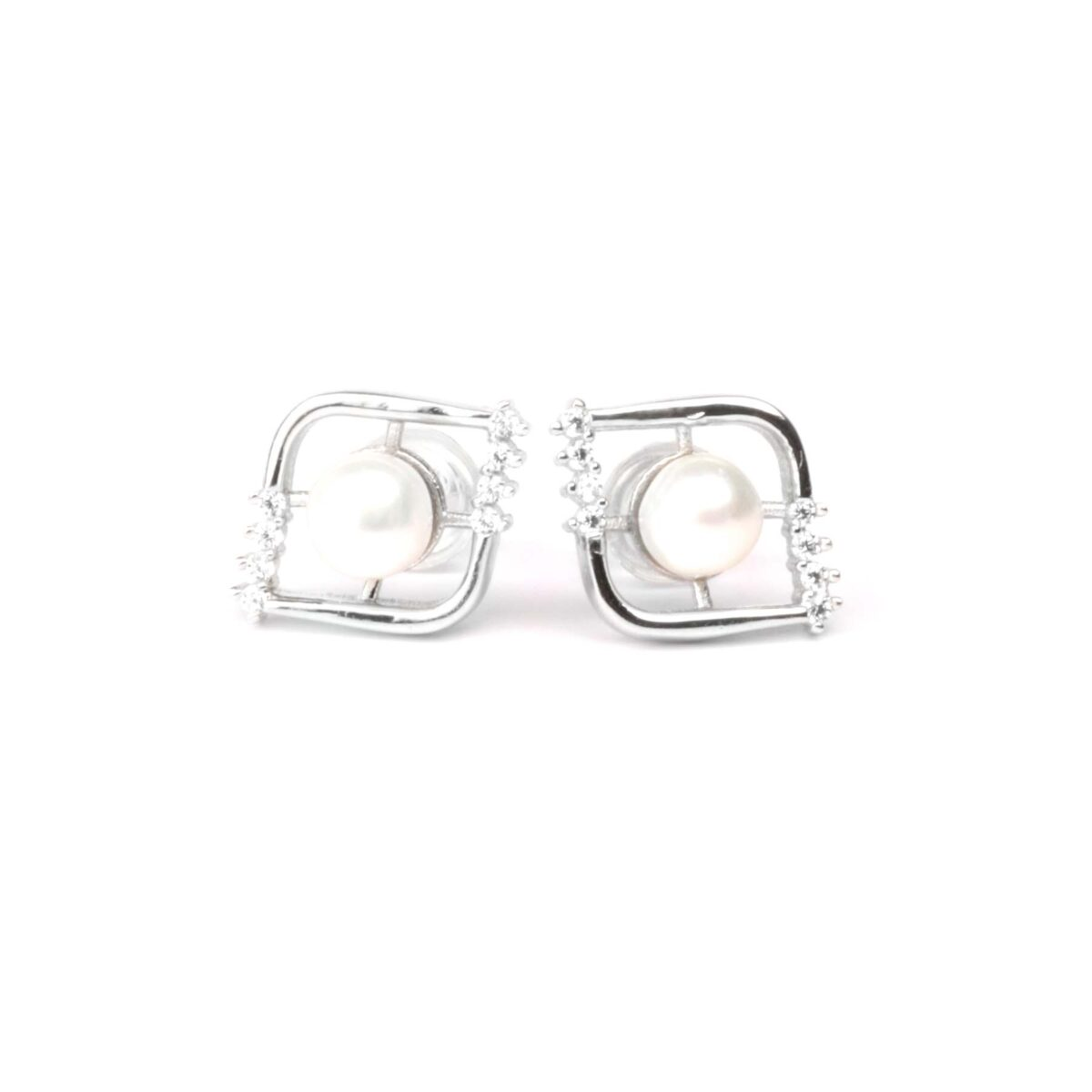 orecchini eyes in argento e perla coltivata