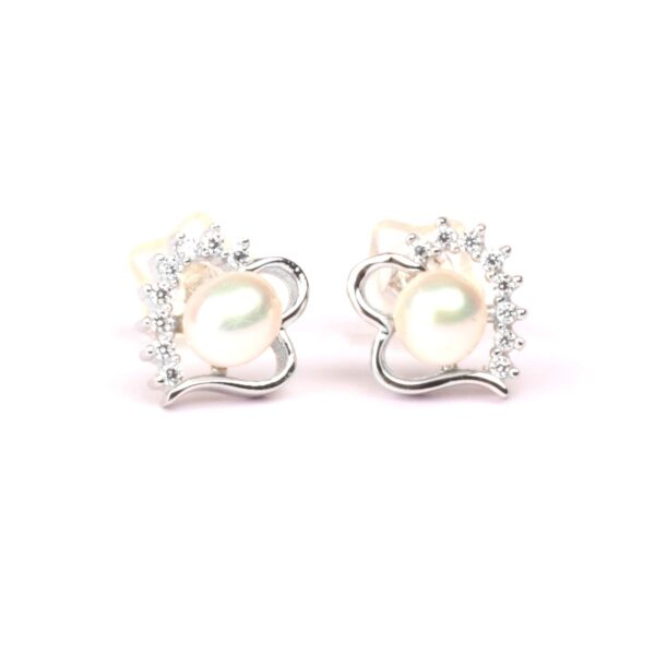 orecchini cuore in argento e perla coltivata