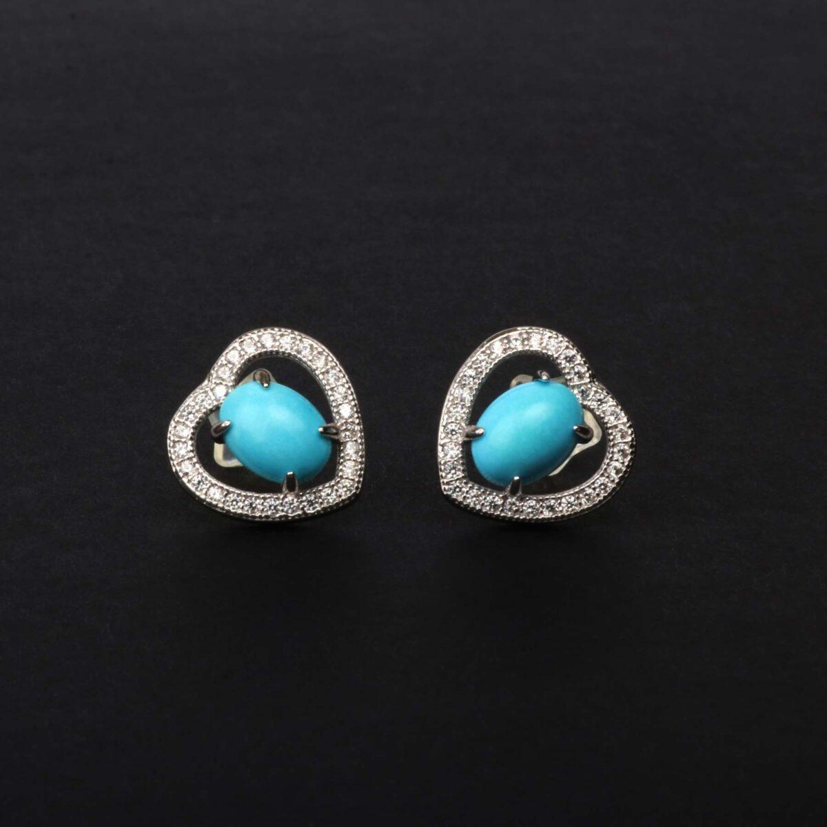 orecchini cuore in argento e agglomerato di turchese